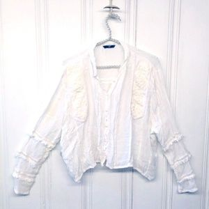 H&M Longsleeve Gauzy Embroidered Blouse Size M